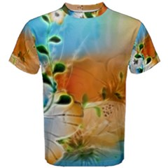Wonderful Flowers In Colorful And Glowing Lines Men s Cotton Tees