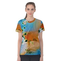 Wonderful Flowers In Colorful And Glowing Lines Women s Cotton Tees