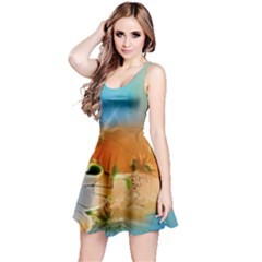 Wonderful Flowers In Colorful And Glowing Lines Reversible Sleeveless Dresses