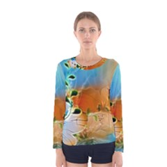 Wonderful Flowers In Colorful And Glowing Lines Women s Long Sleeve T Shirts