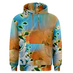 Wonderful Flowers In Colorful And Glowing Lines Men s Pullover Hoodies