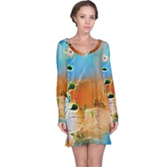 Wonderful Flowers In Colorful And Glowing Lines Long Sleeve Nightdresses