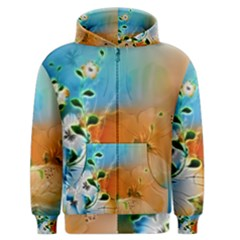 Wonderful Flowers In Colorful And Glowing Lines Men s Zipper Hoodies
