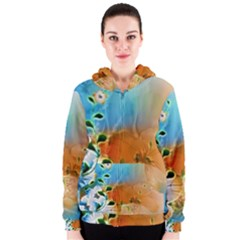 Wonderful Flowers In Colorful And Glowing Lines Women s Zipper Hoodies