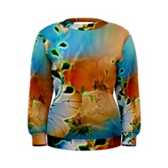 Wonderful Flowers In Colorful And Glowing Lines Women s Sweatshirts