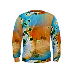 Wonderful Flowers In Colorful And Glowing Lines Boys  Sweatshirts