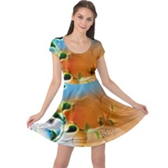 Wonderful Flowers In Colorful And Glowing Lines Cap Sleeve Dresses