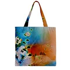 Wonderful Flowers In Colorful And Glowing Lines Zipper Grocery Tote Bags