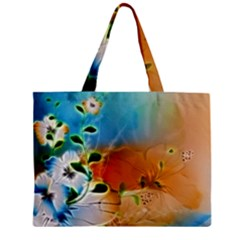 Wonderful Flowers In Colorful And Glowing Lines Zipper Tiny Tote Bags