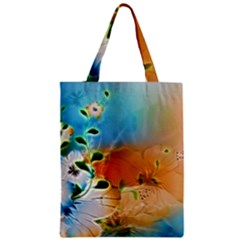 Wonderful Flowers In Colorful And Glowing Lines Zipper Classic Tote Bags