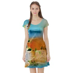Wonderful Flowers In Colorful And Glowing Lines Short Sleeve Skater Dresses