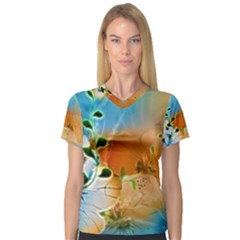 Wonderful Flowers In Colorful And Glowing Lines Women s V-Neck Sport Mesh Tee