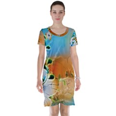 Wonderful Flowers In Colorful And Glowing Lines Short Sleeve Nightdresses