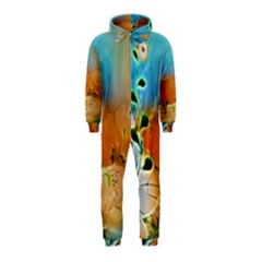 Wonderful Flowers In Colorful And Glowing Lines Hooded Jumpsuit (kids)