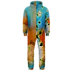 Wonderful Flowers In Colorful And Glowing Lines Hooded Jumpsuit (Men)