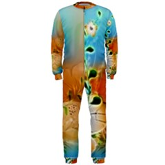Wonderful Flowers In Colorful And Glowing Lines OnePiece Jumpsuit (Men)