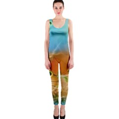 Wonderful Flowers In Colorful And Glowing Lines OnePiece Catsuits