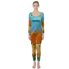 Wonderful Flowers In Colorful And Glowing Lines Long Sleeve Catsuit