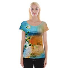 Wonderful Flowers In Colorful And Glowing Lines Women s Cap Sleeve Top