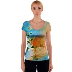 Wonderful Flowers In Colorful And Glowing Lines Women s V-Neck Cap Sleeve Top