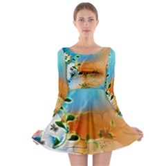 Wonderful Flowers In Colorful And Glowing Lines Long Sleeve Skater Dress