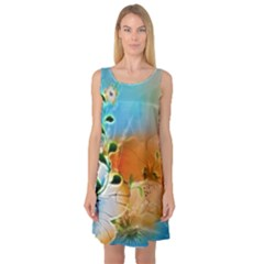 Wonderful Flowers In Colorful And Glowing Lines Sleeveless Satin Nightdresses