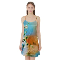 Wonderful Flowers In Colorful And Glowing Lines Satin Night Slip