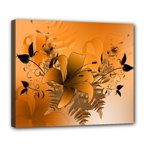 Awesome Summer  Flowers In Soft Red And Yellow Deluxe Canvas 24  x 20
