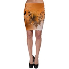 Awesome Summer  Flowers In Soft Red And Yellow Bodycon Skirts