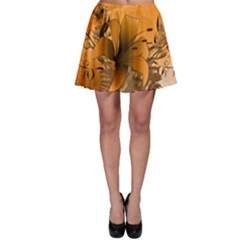 Awesome Summer  Flowers In Soft Red And Yellow Skater Skirts