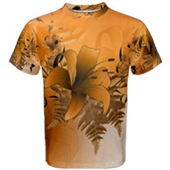Awesome Summer  Flowers In Soft Red And Yellow Men s Cotton Tees