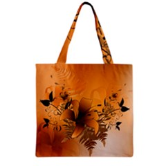 Awesome Summer  Flowers In Soft Red And Yellow Grocery Tote Bags