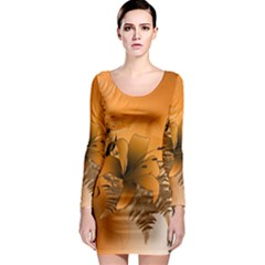 Awesome Summer  Flowers In Soft Red And Yellow Long Sleeve Bodycon Dresses