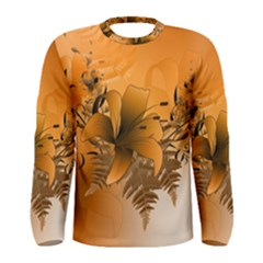 Awesome Summer  Flowers In Soft Red And Yellow Men s Long Sleeve T Shirts