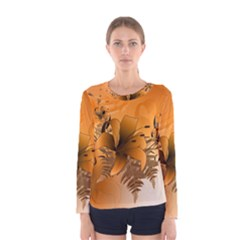 Awesome Summer  Flowers In Soft Red And Yellow Women s Long Sleeve T-shirts