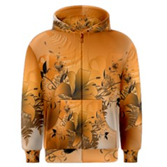 Awesome Summer  Flowers In Soft Red And Yellow Men s Zipper Hoodies