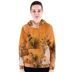 Awesome Summer  Flowers In Soft Red And Yellow Women s Zipper Hoodies