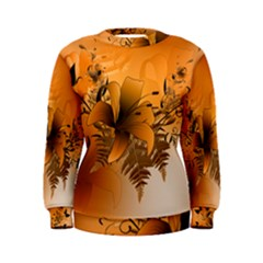 Awesome Summer  Flowers In Soft Red And Yellow Women s Sweatshirts