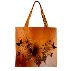 Awesome Summer  Flowers In Soft Red And Yellow Zipper Grocery Tote Bags