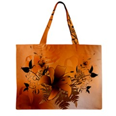 Awesome Summer  Flowers In Soft Red And Yellow Zipper Tiny Tote Bags