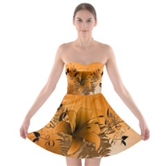 Awesome Summer  Flowers In Soft Red And Yellow Strapless Bra Top Dress