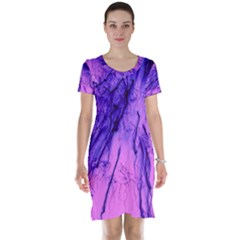 Special Fireworks Pink,blue Short Sleeve Nightdresses