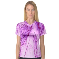 Special Fireworks, Pink Women s V-Neck Sport Mesh Tee