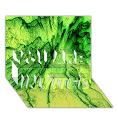 Special Fireworks, Green YOU ARE INVITED 3D Greeting Card (7x5)