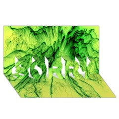 Special Fireworks, Green SORRY 3D Greeting Card (8x4)