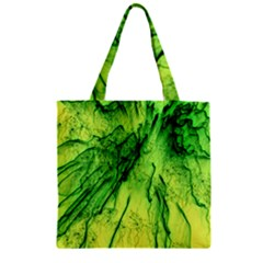 Special Fireworks, Green Zipper Grocery Tote Bags