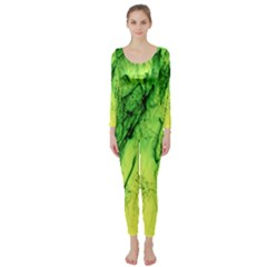 Special Fireworks, Green Long Sleeve Catsuit