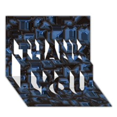 Metalart 23 Blue Thank You 3d Greeting Card (7x5)