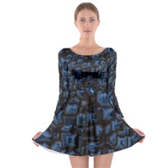 Metalart 23 Blue Long Sleeve Skater Dress
