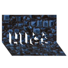 Metalart 23 Blue HUGS 3D Greeting Card (8x4)